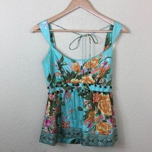 Euc Plenty by Tracy Reese silk floral beaded top